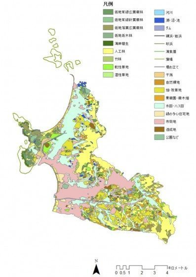 The biotope map in the city. Credit: T. Nakamatsu, Y. Hanada and K. Ito