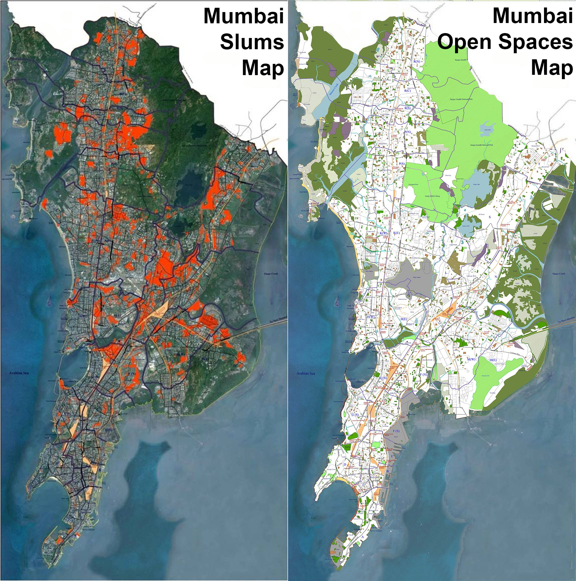 CAPTION: Left: Slums & open spaces mapping (in red) carried out by Nivara Hakk and this author in the year 2012, is the first comprehensive viewing of the slums occupied areas. Right: the vast extent of natural areas (in green) of Mumbai, bringing out facts that expose many myths and bluffs. Both these efforts brought critical data to public view.