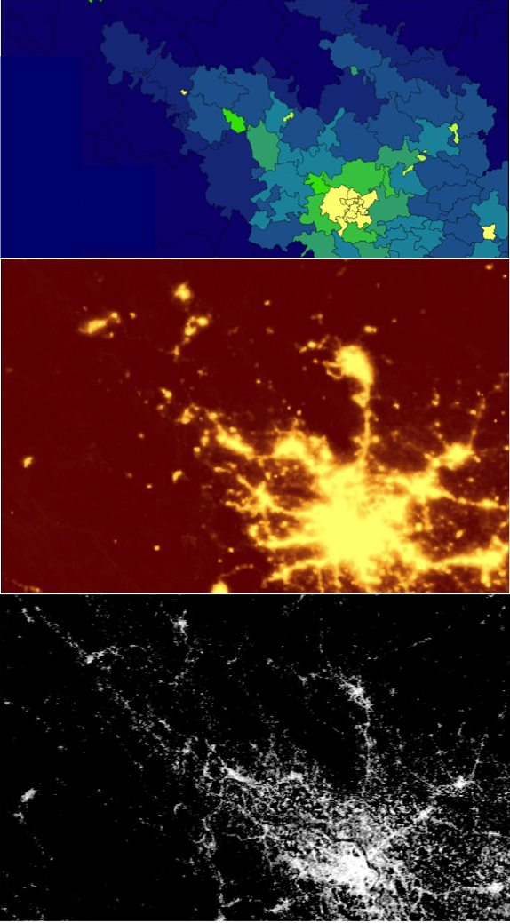 Hanoi depicted in Census Districts, in Night Lights and in Global Human Settlements Layer. Source: Sorichetta 2015