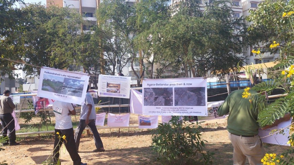 6. A protest at Kaikondrahalli lake about construction in the sensitive lake zone valley floodplains