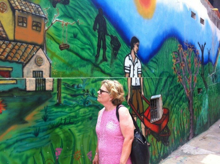 A large community mural in Barrio 13, Medellín, Colombia. Photo: David Maddox