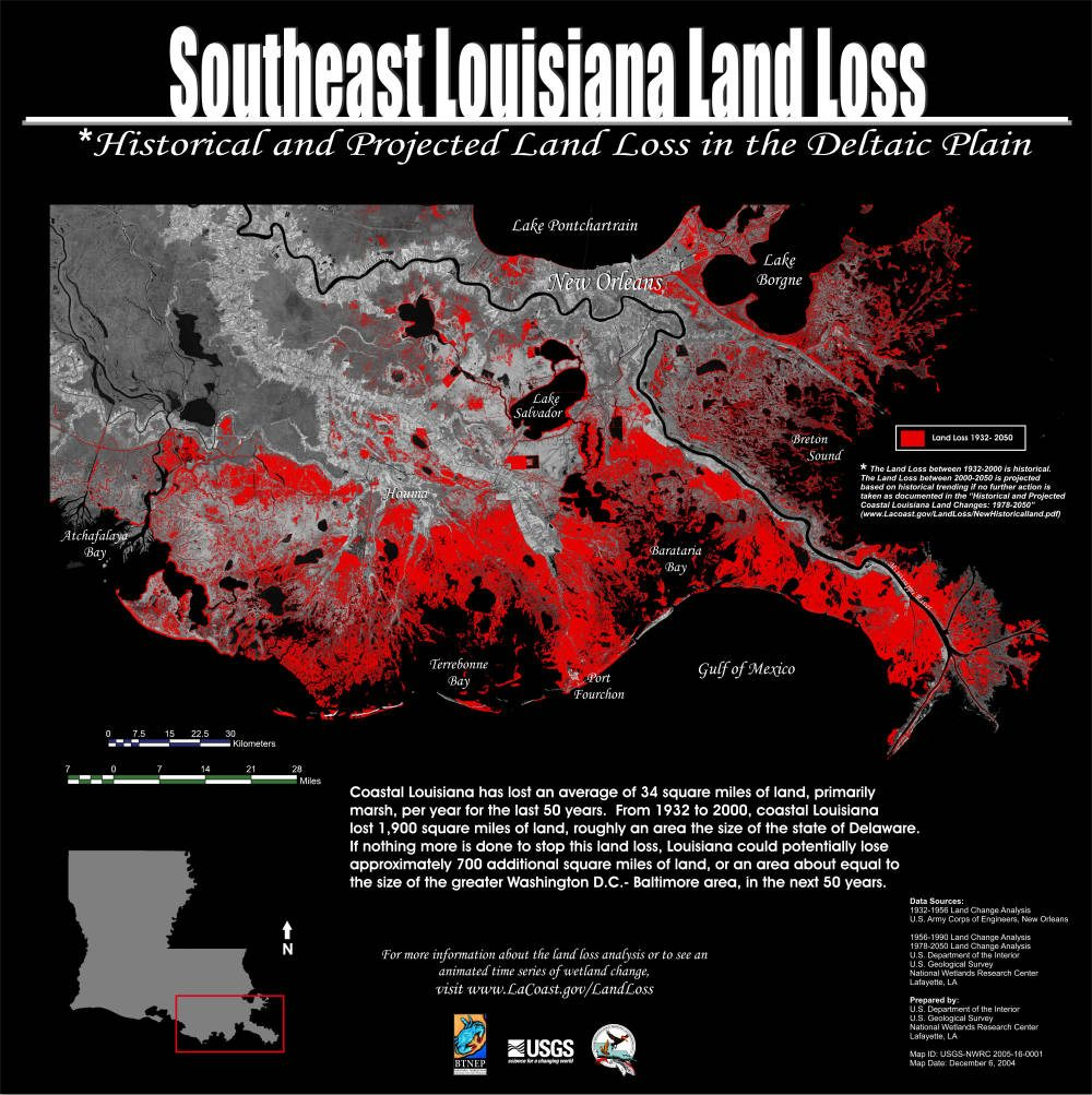 Figure 1. Louisiana Land Loss, 1932 projected through 2050 without major diversion of the Mississippi River.