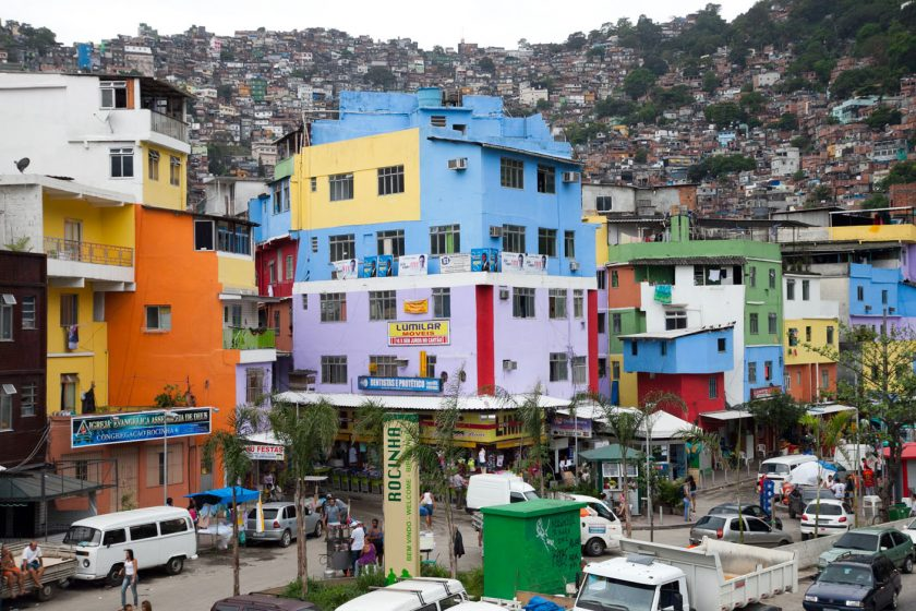 Colorful houses at the base of the Rocinha Favela in Rio de Janeiro, Brazil. Image shot 2010. Source: Alamy.com