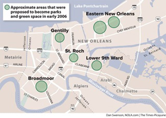 "A 2006 plan commonly known as the ""Green Dot Map"" proposes converting low-lying neighborhoods into parks after Hurricane Katrina. Image: The Times-Picayune"