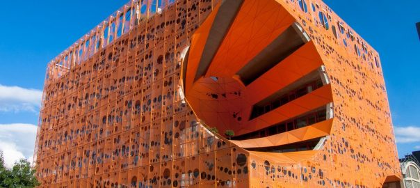 The Orange Cube, in Lyon, France, was designed by Jakob+ MacFarlane, Architecture as is a bird-friendly building.