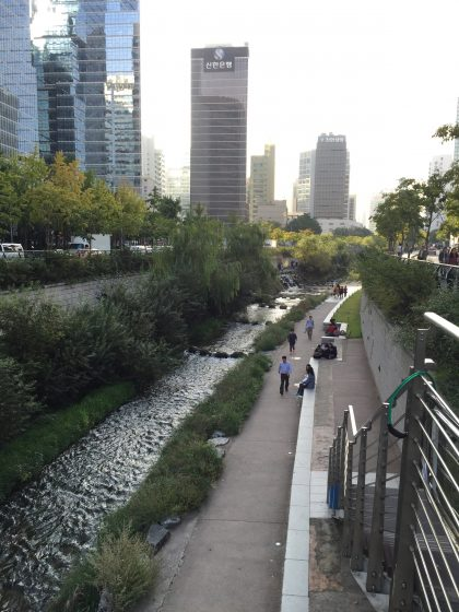 The daylighted and restored Cheonggyecheon today. Photo: David Maddox