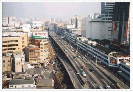 """The Cheonggyecheon """"River"""" then, as a highway."""