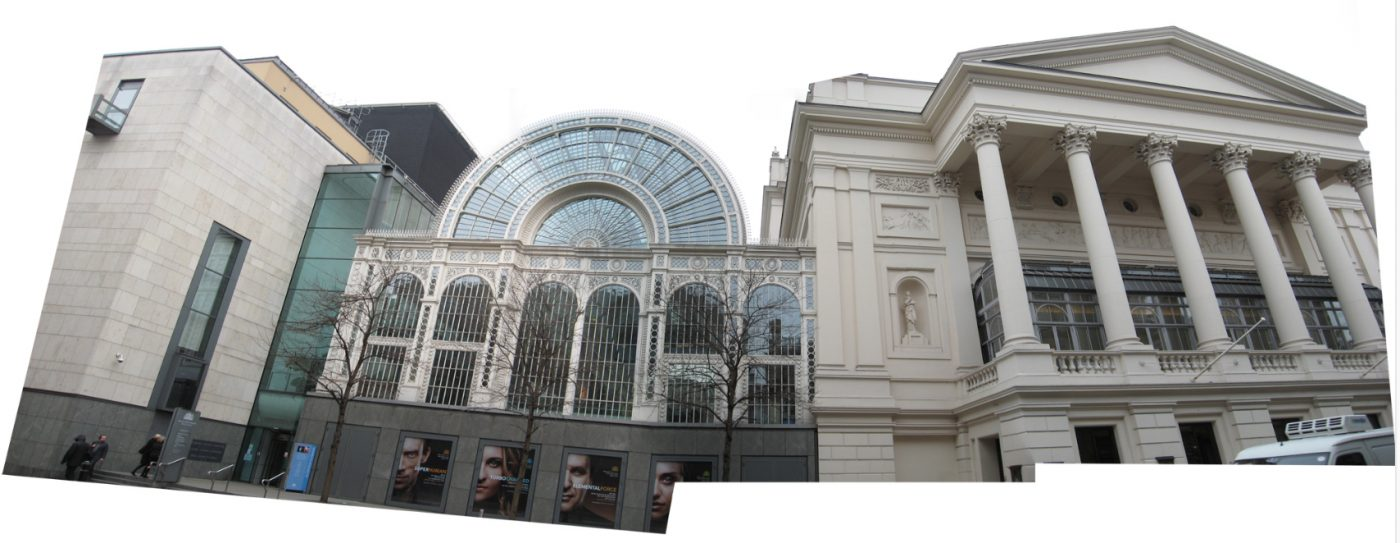 The street façade of London's Royal Opera House was extended twice, once with symmetries of the column patterns in a new context, and a second time (on the left) with barely any symmetries at all beyond the bare materials.