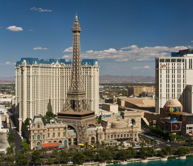 Paris Las Vegas as seen from the Bellagio on a sunny summer day in the afternoon.