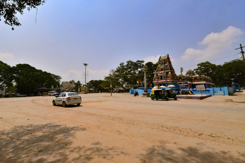 The front view of the Huskur Madurramma temple, largely devoid of trees. Photo credit: Suri Venkatachalam