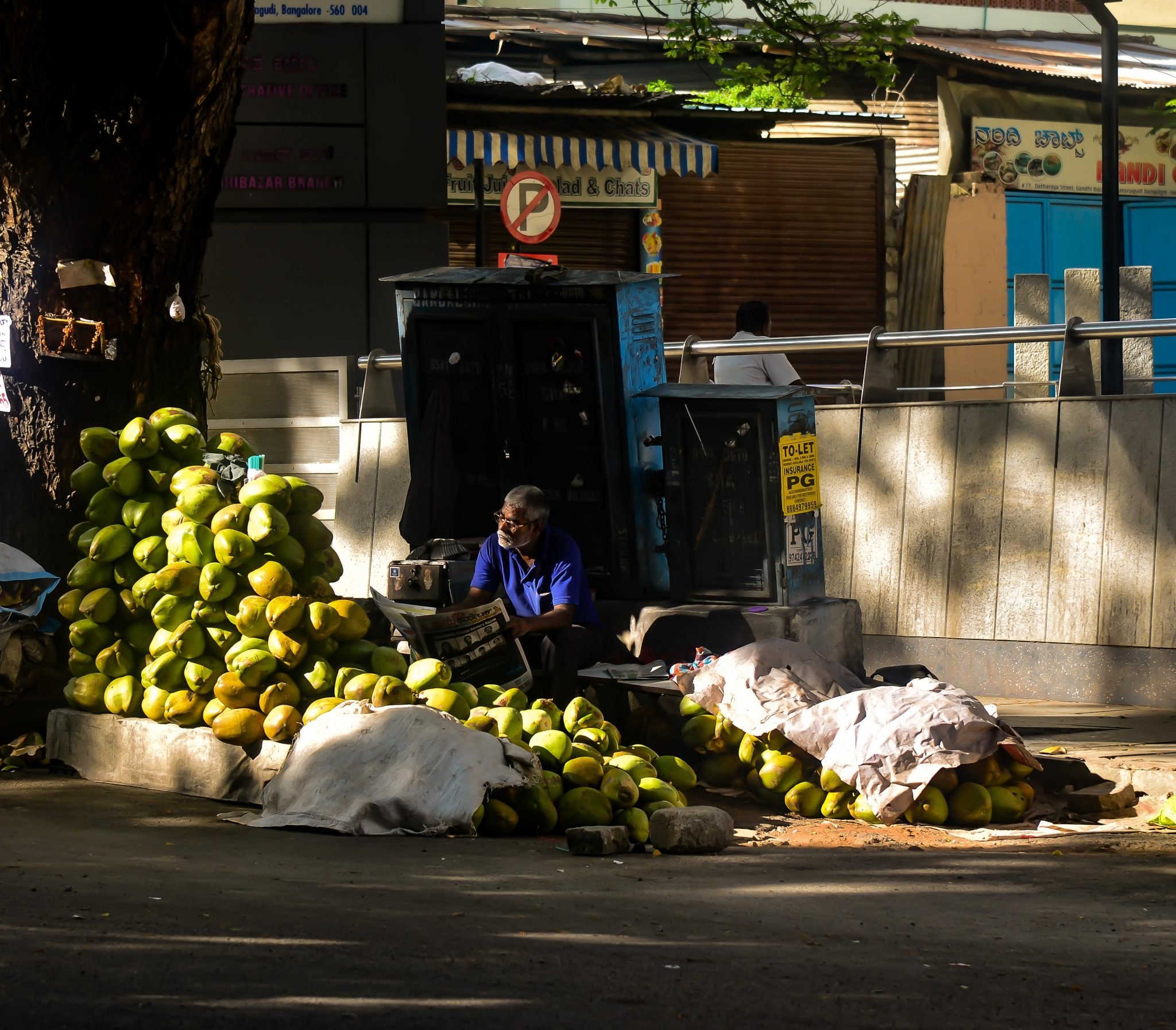 A tender coconut vendor takes advantage of a lull in sales to catch up on the daily news. Photo credit: Suri Venkatachalam
