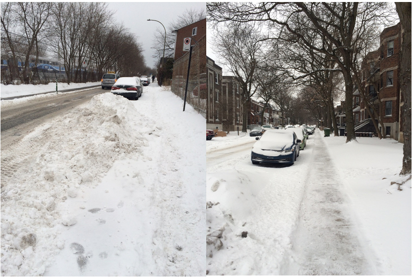 38c9895126d28 Figure 4: Montréal streets and sidewalks covered in snow. The sidewalk has  been cleared in the righthand photo.
