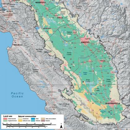 Land use and land cover in the Central Valley in 2000. Map produced by the ESRP.
