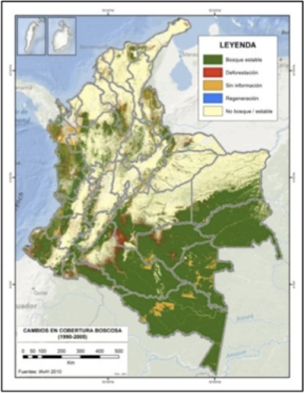 Deforestation rates map (1990-2005). Source: Instituto Humboldt 2011