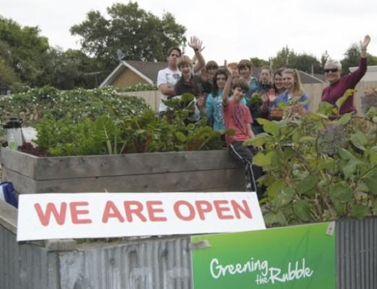 Garden now open all hours, with volunteers there each Tuesday morning. Food in exchange for voluntary labour! http://greeningtherubble.org.nz