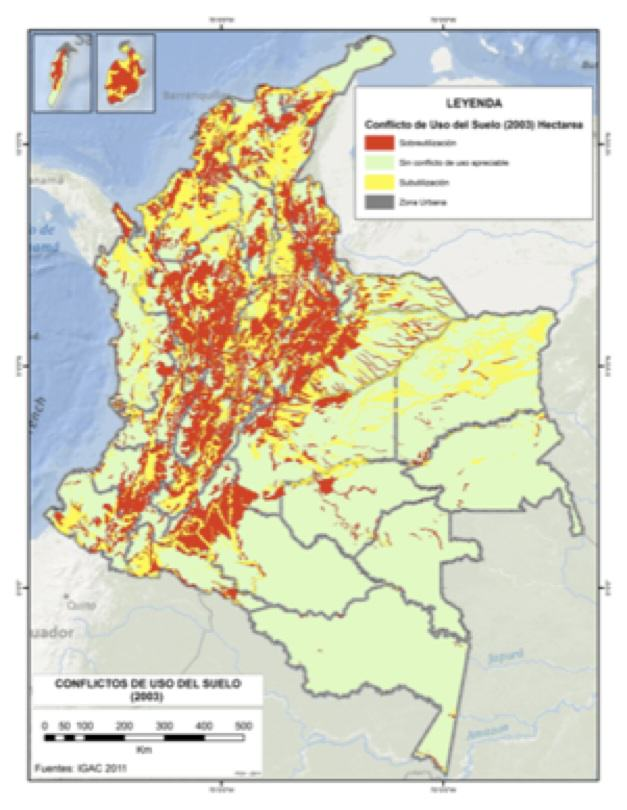 Land use conflict (1990-2005). Source: Instituto Humboldt 2011