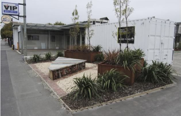 The garden at a year old. There's now a builder's shipping container at its rear, which provides some wind shelter. http://greeningtherubble.org.nz