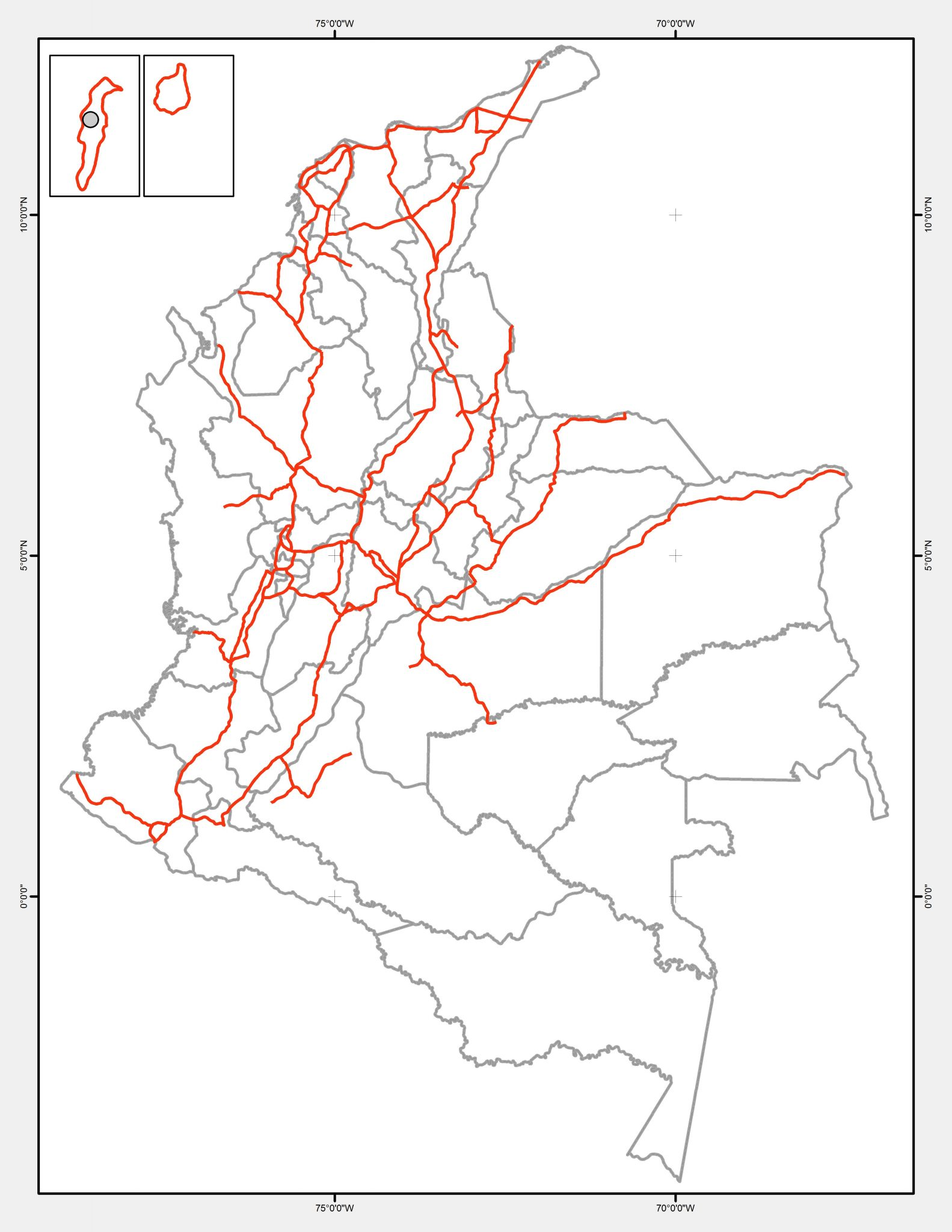 Primary and Secondary Roads. Source: Instituto Humboldt, 2011