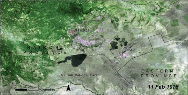 "NNP Landsat. 1976. Credit: UNEP, 2009, ""Kenya: Atlas of Our Changing Environment."" pp. 146-147."