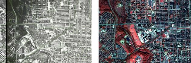 Gwynns Falls, Baltimore Flyover imagery comparison: Left 1960 (approx), Right 2006 Credit: BES LTER