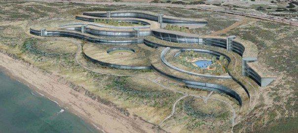 Landscape-like eco building; Monterey Bay Shores Ecoresort. Designed by Thomas Rettenwender and Brent Bucknum for Rana Creek Habitat Restoration and BSA Architects. http://www.earthrisedesign.com/files/MPC-pub090709.pdf