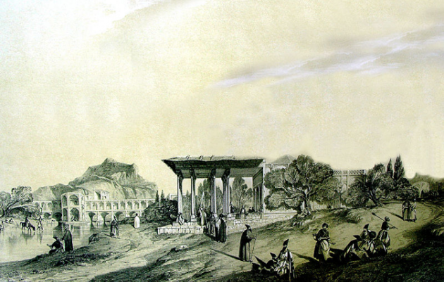 Artist's Rendition of Safavid-era Isfahan, which is typically described as the pinnacle of garden cities interspersed with harmoniously-designed pavilions and spacious thoroughfares. http://ajammc.com/2012/10/23/the-bridge-to-new-julfa-a-look-at-the-armenian-community-of-isfahan/