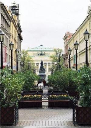 Pedestrian Malaya Sadovaya Street in historic centre