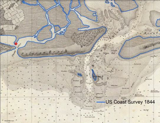 The Rockaway Inlet between Queens and Brooklyn, on the south side of New York City, as shown on an 1844 U.S. Coast Survey chart.  The shoreline is highlighted with a dotted blue line.  Chart courtesy of the David Rumsey Map Collection.