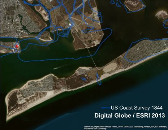 The Rockaway Inlet between Queens and Brooklyn in 2012, based on a satellite imagery.  The blue line is the shoreline from 166 years before.  Imagery courtesy of Digital Globe, served by ESRI
