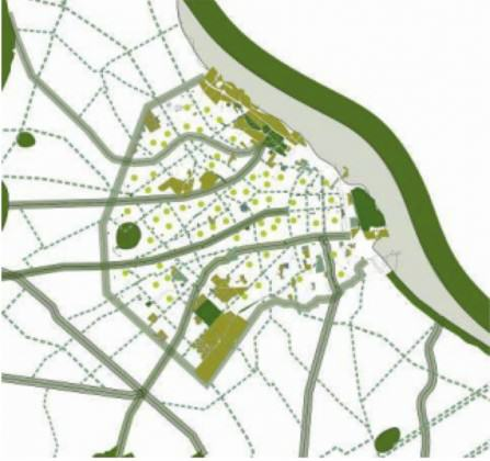 Fig. 1 Proposed green connectors and corridors. An interconnected network of tree- lined streets, boulevards, alleys and riparian remnant vegetation. Source: Buenos Aires Verge. SSPlan, MDU, 2011