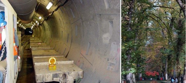 "Grey Infrastructure such as Portland's Combined Sewer Overflow ""big pipe"" (LEFT) is essential to the city's efforts to clean up the Willamette River by virtually eliminating sewer overflows, but it it is a single, purpose ""out of sight,out of mind"" solution with none of the additional benefits provided by green infrastructure such as Portland's Park Blocks (RIGHT) which attenuate stormwater, reduce urban heat island effect, provide migratory bird habitat and beautify downtown Portland.  RIGHT: At the other range of the size spectrum built green infrastructure like this curb extension not only protects the city's $1.44  billion investment in its Combine Sewer Overflow program by keeping stormwater out of the city's grey, piped system but also create a more aesthetic green street and contributes to traffic calming, improving quality of life in the neighborhood."