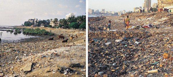 Mumbai's seafronts as dumping grounds. Photos: PK Das