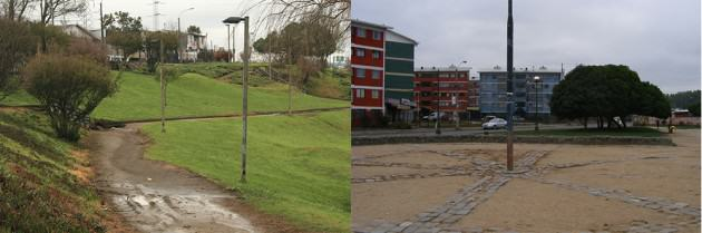 Figure 3. Upland areas of wetlands in Concepción with different interventions and human cues (paths and urban furniture). Photos: Paula Villagra