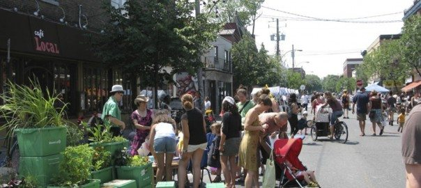 Saint-Viateur Street in the Mile-End neighborhood of Montréal, where local residents and merchants come together to organize summer festivals called 'Journées des bon voisins' (2010).Photo: Nik Luka