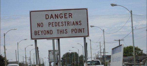 Shot from Nola bridge obstructing access to the Lower 9th Ward: no pedestrians beyond this point. Photo: Mary Rowe