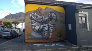 Man in Zebra costume. Woodstock, Cape Town. Photo: Pippin Anderson