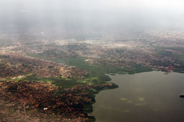 Aerial view of Kampala, showing the wetlands and hills adjacent to Lake Victoria. Photo: Doreen Adengo