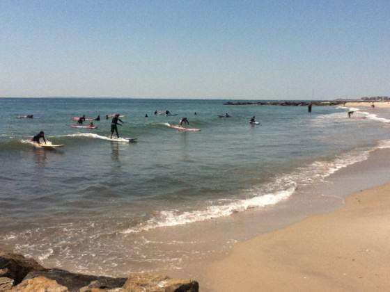 Beginner surfers in Rockaway Beach. Photo: Bryce DuBois