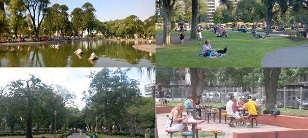 Parks and plazas of Buenos Aires. Centenario and Rivadavia – Parks (above left and right); Misericordia and Pueyrredón Plazas (below left and right).